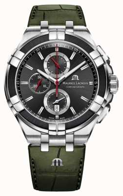 Maurice Lacroix Aikon Chronograph | Green Leather Strap | Black Dial AI1018-PVB21-330-1