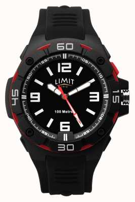Limit | Men's Black Rubber Strap | Black Dial | Red/Black Bezel 5789.65