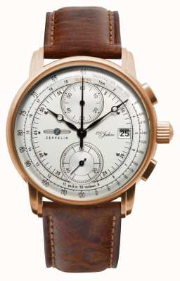Zeppelin Mens Chronograph|100 Years | Brown Leather Strap 8672-1