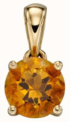 Elements Gold 9ct Y/g Citrine November Birthstone Pendant Only GP2198