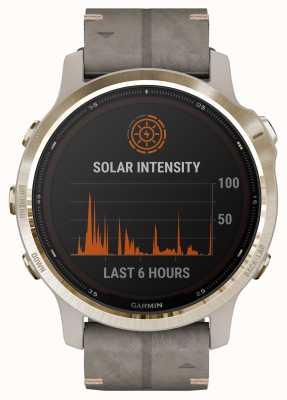 Garmin Fenix 6S Pro Solar | Light Gold Shale Grey Rubber Strap 010-02409-26