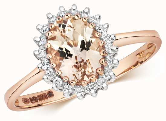 Treasure House 9ct Rose Gold Diamond & Morganite Ring RD298RM