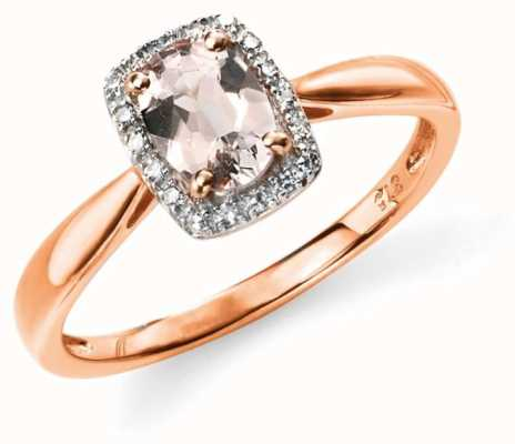 Elements Gold 9ct Rose Gold Pink Morganite Ring Size EU 52 (UK L 1/2) GR517P 52