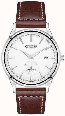 Citizen Eco-Drive Brown Leather Strap | White Dial BV1119-14A