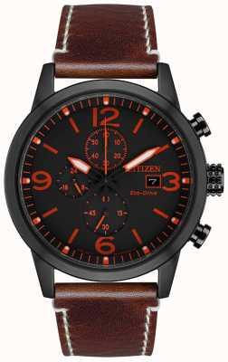 Citizen Eco-Drive Sport Brown Leather Strap | Black Dial CA0617-11E