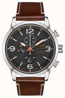Citizen Eco-Drive Sport Brown Leather Strap Watch CA0618-26H
