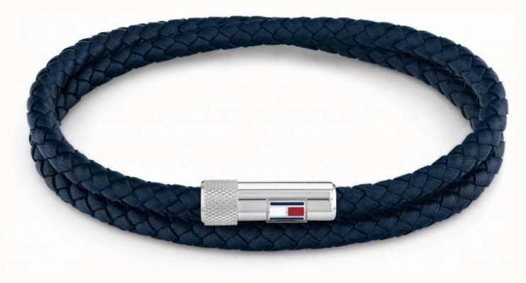 Tommy Hilfiger Men's Casual | Blue Double Wrap Leather Bracelet 2790264