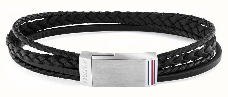 Tommy Hilfiger Men's Casual | Black Multi-Wrap Plaque Bracelet 2790281