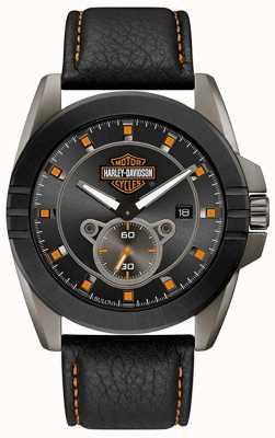 Harley Davidson Men's For Him! | Black Leather Strap | Grey Dial 78B182