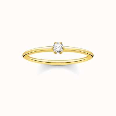 Thomas Sabo Gold White Stone Ladies Ring Size 54 TR2312-414-14-54