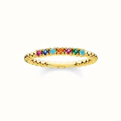 Thomas Sabo Gold Coulourful Stone Dot Ring EU 52 (UK L 1/2) TR2323-488-7-52