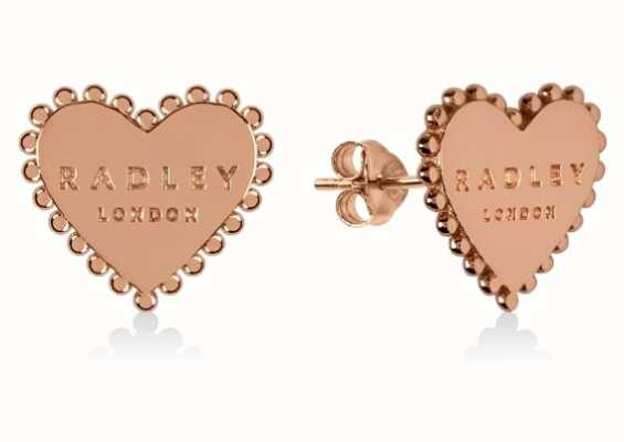 Radley Jewellery Sterling Silver 18ct Rose Gold Plated Heart Stud Earrings RYJ1126