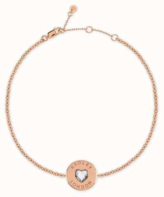 Radley Jewellery Sterling Silver 18ct Rose Gold Plated Heart Disc Bracelet RYJ3080