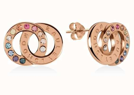 Radley Jewellery Sterling Silver Rose Gold Rainbow Double Loop Stud Earrings RYJ1146