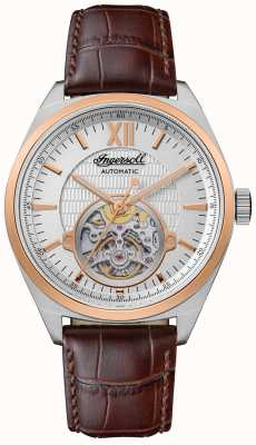 Ingersoll THE SHELBY Automatic Brown Leather Strap Silver Dial I10901