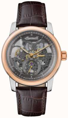 Ingersoll THE BALDWIN  Automatic Grey Skeletonized Dial Brown Leather Strap I11001