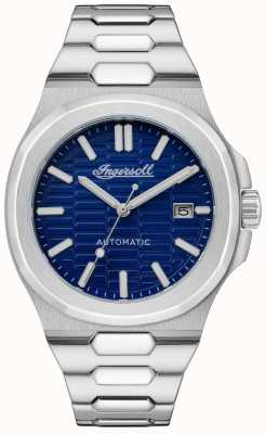 Ingersoll THE CATALINA Honeycomb Textured Blue Dial Stainless Steel Bracelet I11801