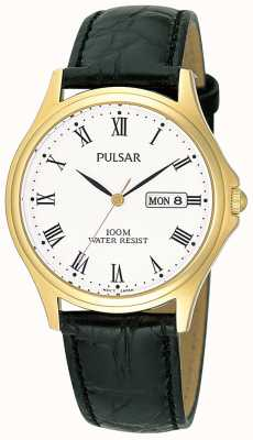 Pulsar Mens Analogue Leather Strap Watch PXF292X1