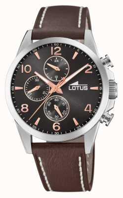 Lotus Men's Brown Leather Strap | Black Chronograph Dial L18630/3