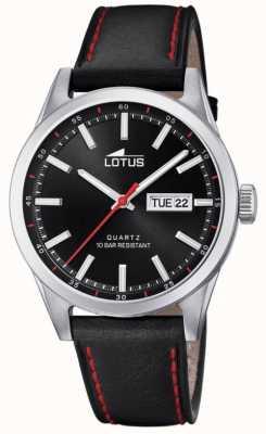 Lotus Men's Black Leather Strap | Red Stitching | Black Dial L18671/4