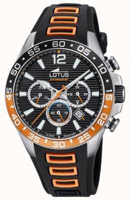 Lotus Men's Black/Orange Silicone Strap | Black Chronograph Dial L18697/1