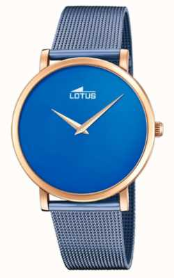 Lotus Women's Blue Steel Mesh Bracelet | Blue Dial | Rose Gold Case L18773/2