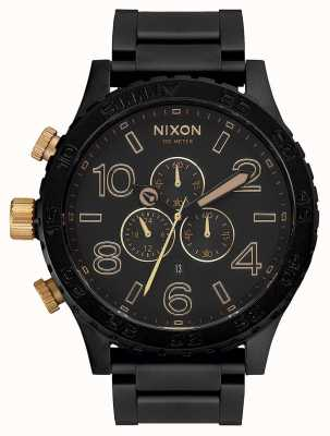 Nixon 51-30 Chrono | Matte Black / Gold | Black IP Bracelet | Black Dial A083-1041-00