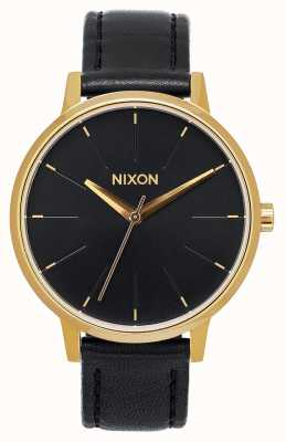 Nixon Kensington Leather   Gold / Black   Black Leather Strap   Black Dial A108-513-00