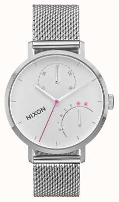 Nixon Clutch | All Silver | Stainless Steel Mesh | White Dial A1166-1920-00
