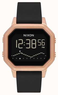 Nixon Siren SS | Rose Gold / Black | Digital | Black Silicone Strap A1211-1098-00