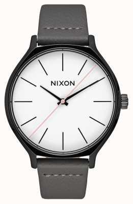 Nixon Clique Leather   Black / Grey   Grey Leather Strap   White Dial A1250-007-00