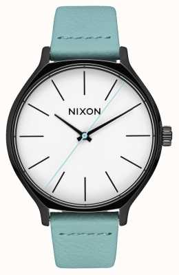 Nixon Clique Leather | Black / Mint | Mint Green Leather Strap | White Dial A1250-3317-00
