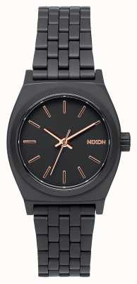 Nixon Small Time Teller | All Black / Rose Gold | Black IP Steel Bracelet | Black Dial A399-957-00