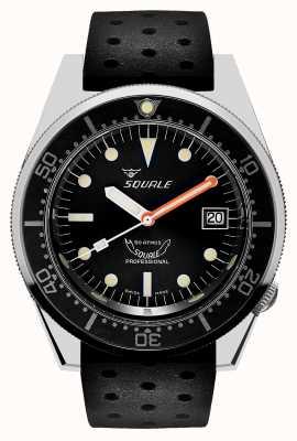 Squale 1521 Classic | Black Tropic Strap | Black Dial 1521CL-CINTRB20