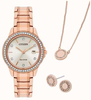 Citizen Eco-Drive Rose Gold Plated Watch And Jewellery Gift Set FE1173-52A