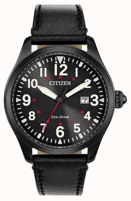 Citizen Men's Garrison Military Eco Drive | Black Leather Strap BM6835-15E