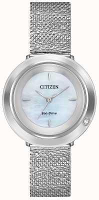 Citizen Women's Ambiluna | Steel Mesh Bracelet | Mother Of Pearl Dial EM0640-58D