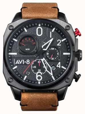 AVI-8 HAWKER HUNTER   Chronograph   Brown Leather Strap AV-4052-02