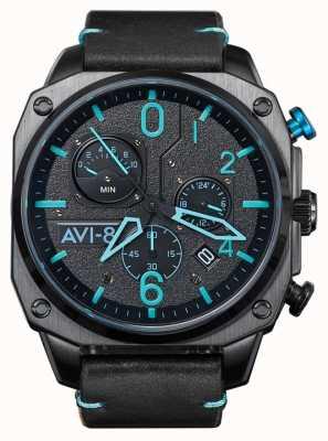 AVI-8 HAWKER HUNTER   Chronograph   Black Leather Strap AV-4052-05