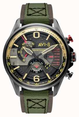 AVI-8 HAWKER HARRIER II | Chronograph | Grey Dial | Brown Leather Green Nato Strap AV-4056-03