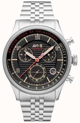 AVI-8 FLYBOY LAFAYETTE | Chronograph | Black Dial | Stainless Steel Bracelet AV-4076-33