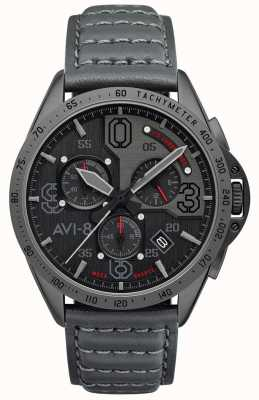 AVI-8 P-51 MUSTANG | Chronograph | Grey Dial | Grey Leather Strap AV-4077-03