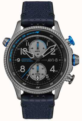 AVI-8 HAWKER HUNTER | Chronograph | Black Dial | Blue Leather Strap AV-4080-02