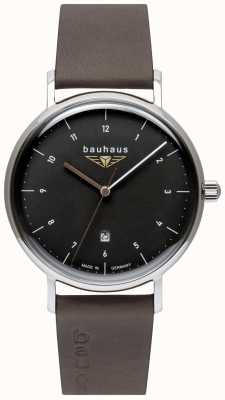 Bauhaus Men's Grey Italian Leather Strap | Black Dial 2142-2