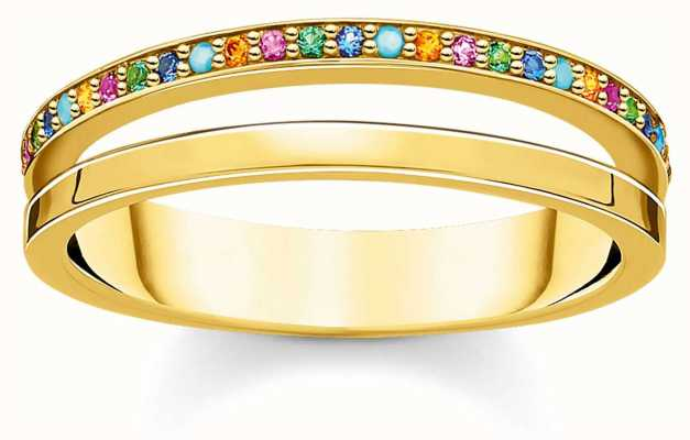 Thomas Sabo Gold Coulourful Stone Dot Ring | Size 56 TR2316-488-7-56