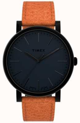 Timex Originals 42mm | Black Dial | Tan Leather Strap TW2U05800