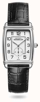 Michel Herbelin Womens | Art Déco | Silver Dial | Black Leather Strap 10638/22