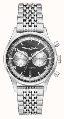 Thomas Sabo Rebel At Heart | Men's Stainless Steel Bracelet | Black Dial WA0375-201-203-40
