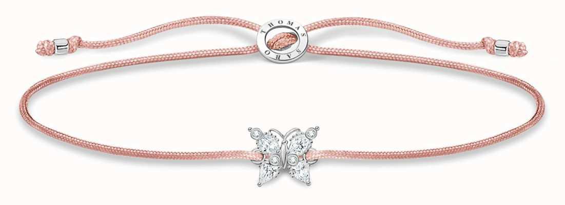 Thomas Sabo Little Secrets | Pink Nylon Bracelet | White Butterfly LS117-401-19-L20V