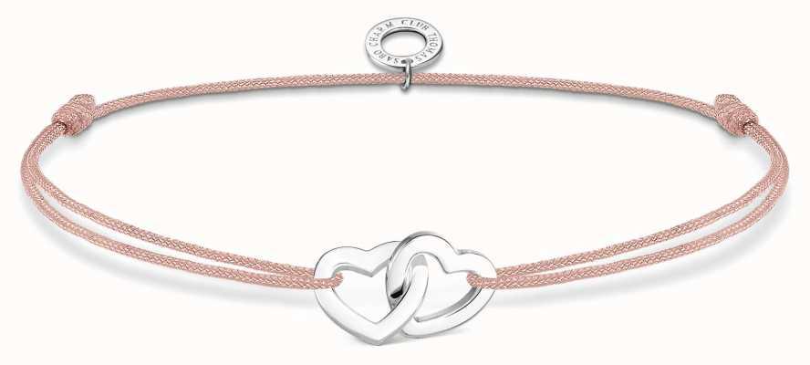 Thomas Sabo Little Secrets   Pink Nylon Double Hearts Bracelet LS121-173-19-L20V